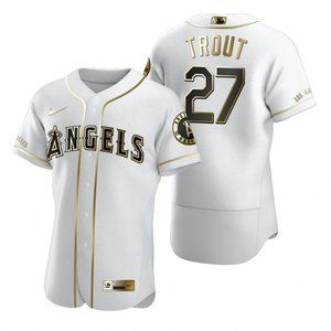 Angels #27 Mike Trout White Golden Jersey